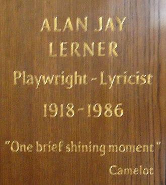Alan Jay Lerner - Lerner's memorial plaque in St Paul's Church in London