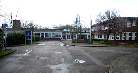 Alderwood Senior School is the town's only secondary school Alderwood School Aldershot 2018.jpg