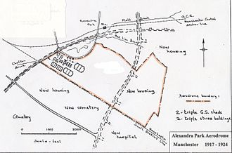 Alexandra Park Aerodrome - Chart showing the layout and facilities at Alexandra Park Aerodrome 1917–1924. The sets of hangars are in the north-east section. Princess Road, built after closure in late 1924, passes through the centre of the old aerodrome. Mauldeth Road West runs to the north (top) of the site.