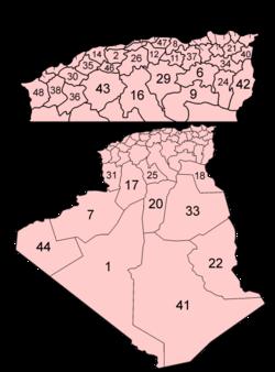 Peta wilayah-wilayah Aljazair