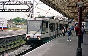 Altrincham Line - A T-68 tram at Altrincham station in 1992, shortly after the line was opened to trams.