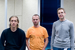 Priit Kasesalu - Priit Kasesalu (right) with Ahti Heinla (left) and Toivo Annus (center) of Ambient Sound Investments in Tallinn, Estonia.