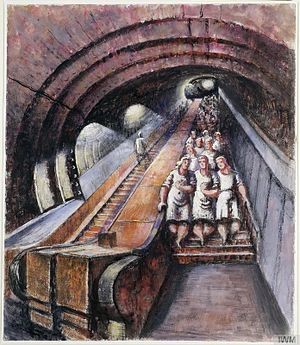 Frank Dobson (sculptor) - An Escalator in an Underground Factory (1944) (Art.IWM ART LD 4142)
