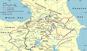 Military history of Azerbaijan - A map of Caucasian Albania (delineated by the red dotted border).