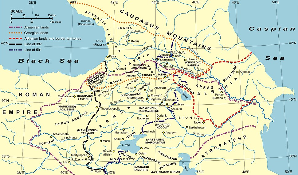 Borders of Caucasian Albania in 387—706 (red dashed line)