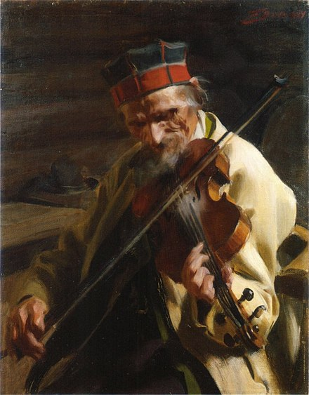 The fiddler Hins Anders Ersson painted by Anders Zorn, 1904 Anders Zorn - Hins Anders (1904).jpg