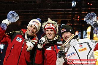 Thomas Morgenstern - Andreas Kofler, Thomas Morgenstern, Adam Małysz in Oslo 2011 – medal ceremony (men individual, normal hill)