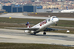 Ankair McDonnell Douglas MD-83 take off at Istanbul Airport