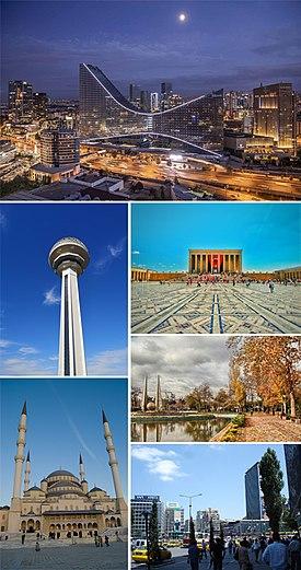 Zgodnie z ruchem wskazówek zegara, od góry: Söğütözü skyline, Anıtkabir, Gençlik Parkı, Kızılay Square, Kocatepe Mosque, Atakule