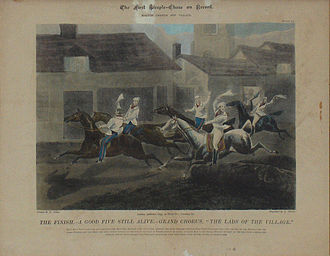 "Steeplechase (horse racing) - ""The lads from the village"" - the first recorded English steeplechase 1830"