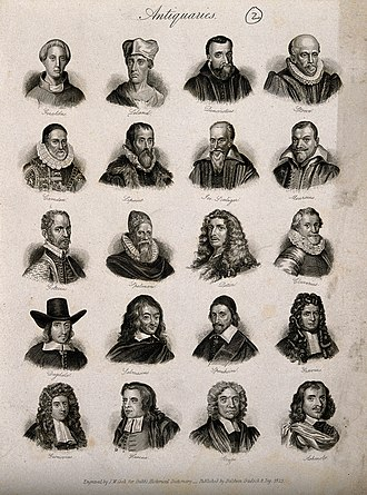 "Antiquarian - ""Antiquaries"": portraits of 20 influential antiquaries and historians published in Crabb's Universal Historical Dictionary (1825). Featured are: Giraldus Cambrensis, John Leland, Guido Panciroli, John Stow, William Camden, Justus Lipsius, Joseph Justus Scaliger, Johannes Meursius, Hubert Goltzius, Henry Spelman, Charles Patin, Philipp Clüver, William Dugdale, Claudius Salmasius, Friedrich Spanheim, Johann Georg Graevius, Jakob Gronovius, Thomas Hearne, John Strype, and Elias Ashmole."
