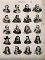 Antiquaries; twenty portraits of historians. Engraving by J. Wellcome V0006811.jpg