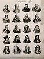 Antiquaries; twenty portraits of historians. Engraving by J. Wellcome V0006811.jpg