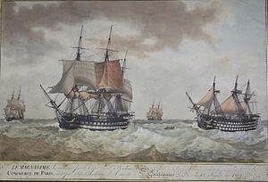 French ship Magnanime (1803) - Image: Antoine Roux's LE MAGNANIME TOWING COMMERCE DE PARIS