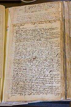 Page in a handwritten manuscript volume