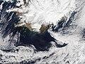 April 21, 2010, Ash plume from Eyjafjallajokull Volcano.jpg