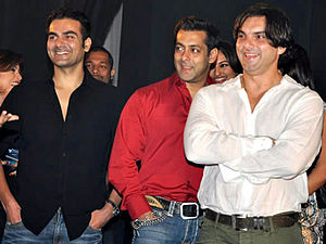 Salim Khan - From left to right – Arbaaz Khan Salman Khan Sohail Khan