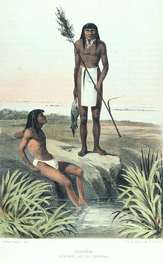 Hia C-eḍ O'odham - Two Hia C-eḍ O'odham men after a successful fishing expedition. Lithograph from 1857