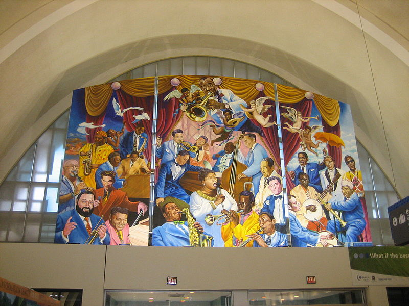 Interior of Armstrong Airport, New Orleans, Jazz Mural