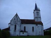 Aroue (Aroue-Ithorots-Olhaïbe, Pyr-Atl, Fr) l'église dans la lumière du matin.JPG
