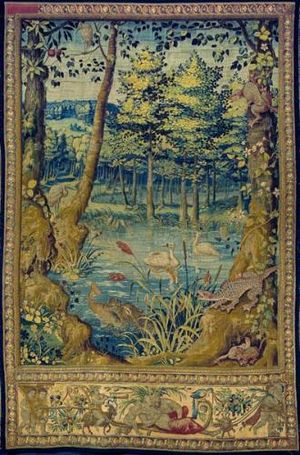 Jagiellonian tapestries - Verdure An otter with a fish in its mouth, Jan van Tieghem's workshop, ca. 1555.