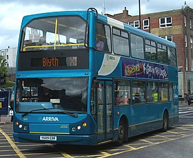 Arriva bus 7439 VDL Bus DB250 East Lancs Myllennium Lowlander Y689 EBR in Newcastle upon Tyne 9 May 2009 pic 1.jpg