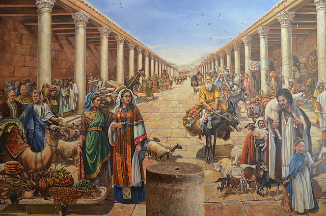 640px-Artist%27s_reconstruction_of_life_in_a_Roman_cardo_of_Jerusalem_during_the_Aelia_Capitolina_period_%2815607472376%29.jpg