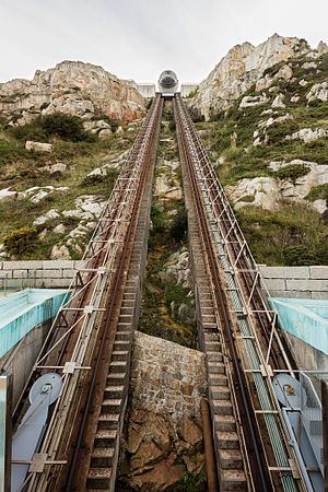 Panoramic lift to St Peter's Hill, La Coruña, Spain. The lift operates since 2007 and the length of the served drive is 100 m and a height of 63 m.