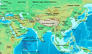 Asia in 200BCE, showing the Greco-Bactrian Kingdom and its neighbors.