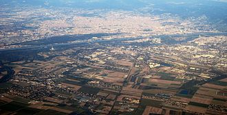 Donaustadt - Aerial view of Donaustadt, with former Aspern Airfield in the center