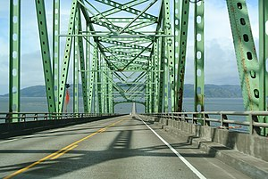 U.S. Route 101 in Oregon - US 101 at the Astoria-Megler Bridge, heading north.