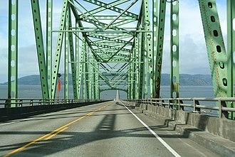 U.S. Route 101 in Oregon - US 101 at the Astoria-Megler Bridge, heading north.