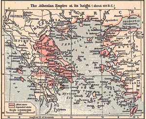 Greece in 5th century BC - Map of the Athenian empire c. 450 BC