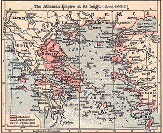 Delian League - The Athenian Empire at its height, c. 450 BC
