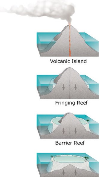 The Structure and Distribution of Coral Reefs - Darwin's theory set out a sequence of coral reef formation around an extinct volcanic island, becoming an atoll as the island and ocean floor subsided. Courtesy of the US Geological Survey