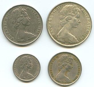 Coins of the Australian dollar - Image: Aus coins queen elizabeth 1966