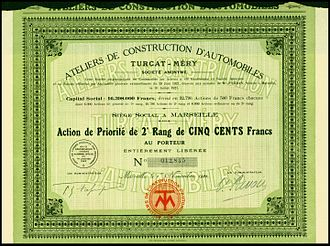Turcat-Méry - Share of the Ateliers de Construction d'Automobiles Turcat-Méry SA, issued 1. November 1921
