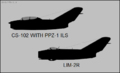 Avia CS-102 and PZL Lim-2R side-view silhouettes.png