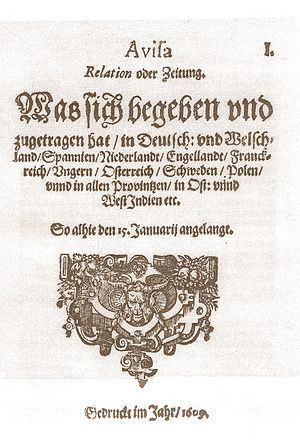 Avisa Relation oder Zeitung - Front page of the first Avisa, Relation oder Zeitung (15 January 1609)