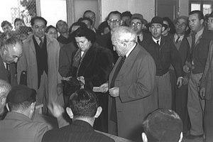 Israeli legislative election, 1949 - Ben Gurion casting his vote for the Israeli Constituent Assembly