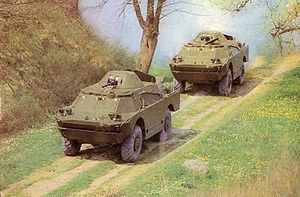 BRDM-2 - Two Polish BRDM-2s on the move. Notice the shutters over the bulletproof windows and opened air inlets.