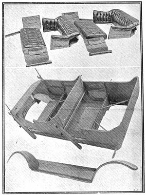 BSA cars - All-steel components of the 13.9 body 1912, upholstery above