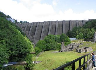 Bryntail lead mine - Bryntail and Clywedog reservoir dam, footbridge bottom left