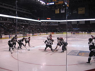 Bakersfield, California - A minor league hockey game being played at Bakersfield's Rabobank Arena