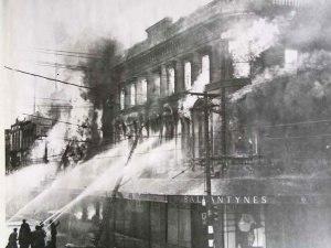 Ballantyne's fire - Firefighters battling the blaze