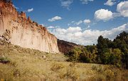 Bandelier-Cliff face and valley.jpg