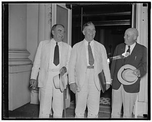 75th United States Congress - (L-R): House Speaker William Bankhead, Senate Majority Leader Alben Barkley, and House Majority Leader Sam Rayburn