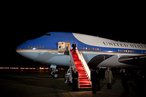 Red carpet - President Barack Obama exiting Air Force One on red carpet