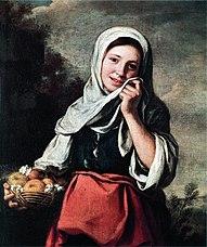 Dziewczyna sprzedająca owoce