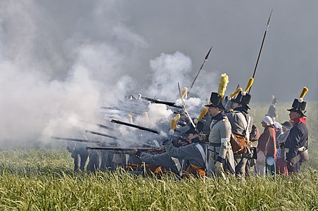 A scene of the 2011 reenactment of the battle of Waterloo (1815)